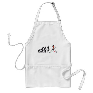 evolution OF woman jogging on A treadmill fitness Adult Apron