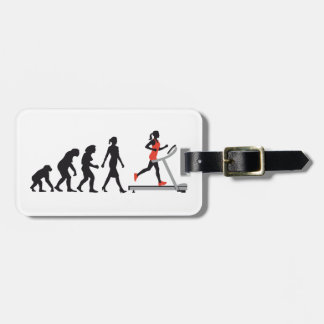 evolution OF woman jogging on A treadmill fitness Bag Tag