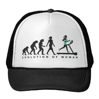 evolution OF woman jogging on A treadmill fitness Trucker Hat
