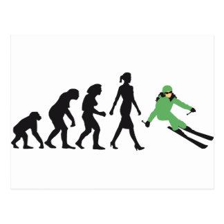 evolution OF woman skiing Postcard