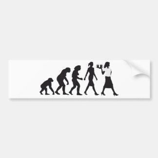 Evolution OF woman waitress Car Bumper Sticker