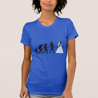 evolution OF woman white wedding T-Shirt