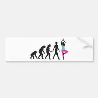evolution OF woman yoga position Car Bumper Sticker