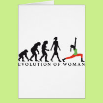 evolution OF woman yoga position Card