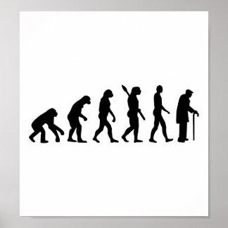 Evolution Pensioner old man Poster