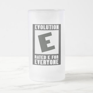 Evolution: Rated E for Everyone. 16 Oz Frosted Glass Beer Mug