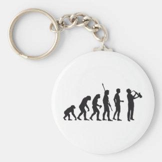 Evolution saxophone basic round button keychain