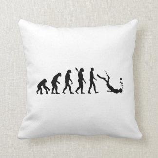 Evolution snorkeling throw pillow