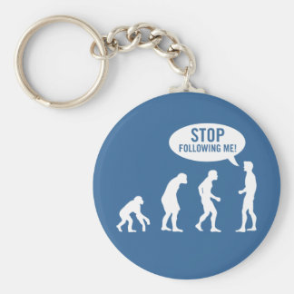 evolution - stop following me! basic round button keychain