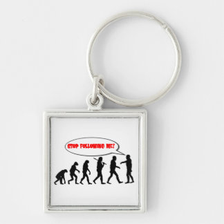 Evolution. Stop Following Me Silver-Colored Square Keychain