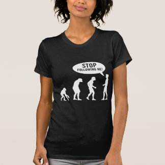 evolution - stop following me tshirts