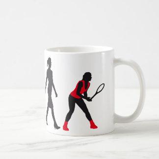 evolution tennis female player taza de café
