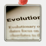 Evolution text on page christmas ornaments