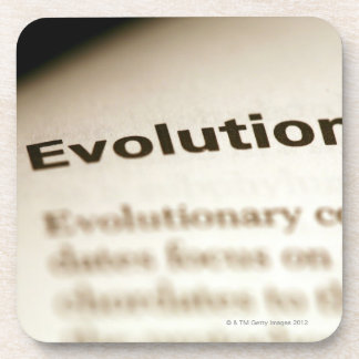 Evolution text on page drink coaster