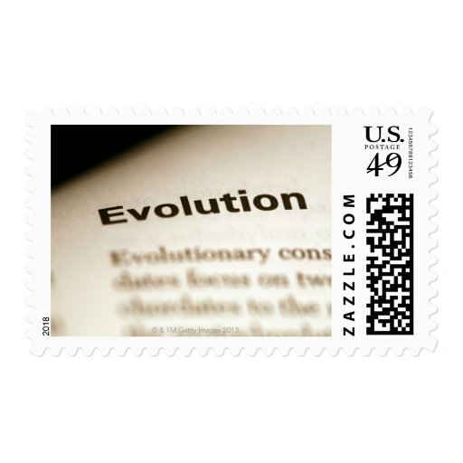 Evolution text on page postage stamps