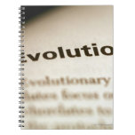 Evolution text on page spiral note books