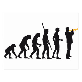 evolution trumpet more player postcard