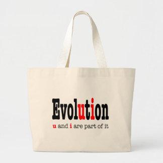 Evolution: u and i are part it jumbo tote bag