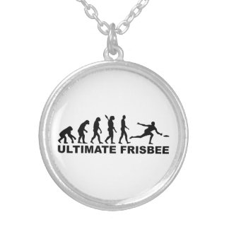 Evolution Ultimate Frisbee Round Pendant Necklace