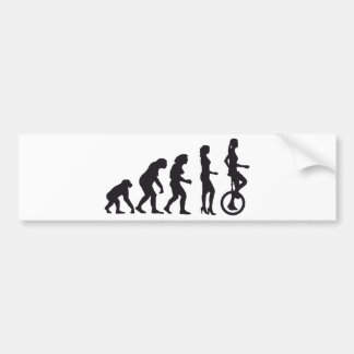 evolution unicycle car bumper sticker