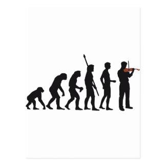 evolution violin postcard