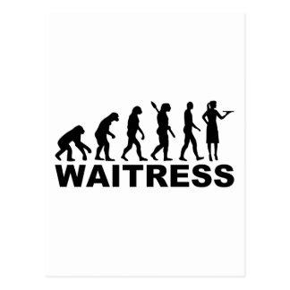 Evolution waitress postcard