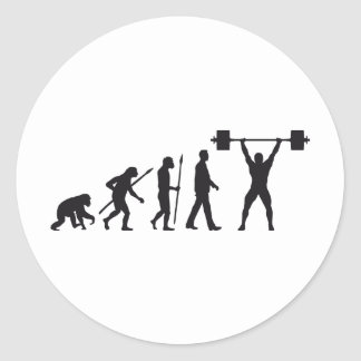 evolution weight more lifter classic round sticker