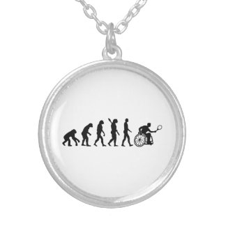 Evolution wheelchair tennis silver plated necklace