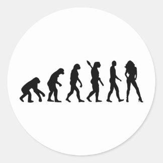 Evolution woman classic round sticker