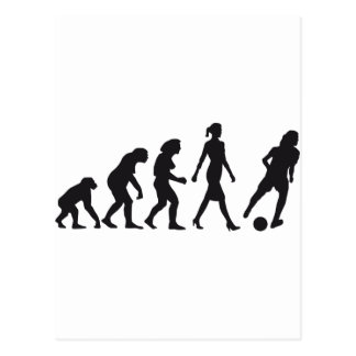 evolution woman more soccer female post cards