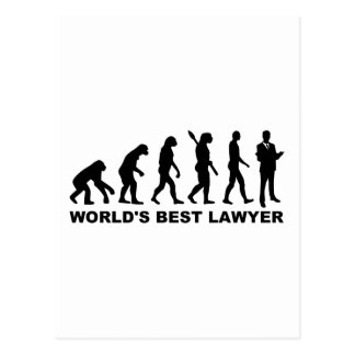 Evolution world's best lawyer postcard