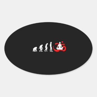 Evolution Yoga Buddhist Meditation Oval Sticker
