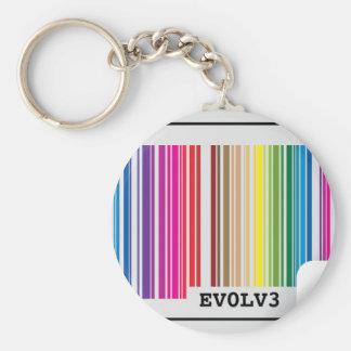 evolve barcode basic round button keychain