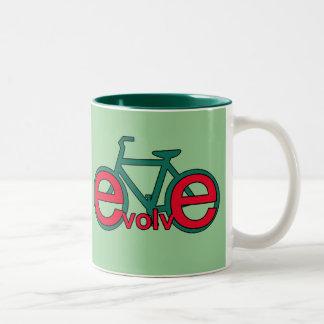 Evolve Bicycle Art for Tshirts, Apparel Two-Tone Coffee Mug