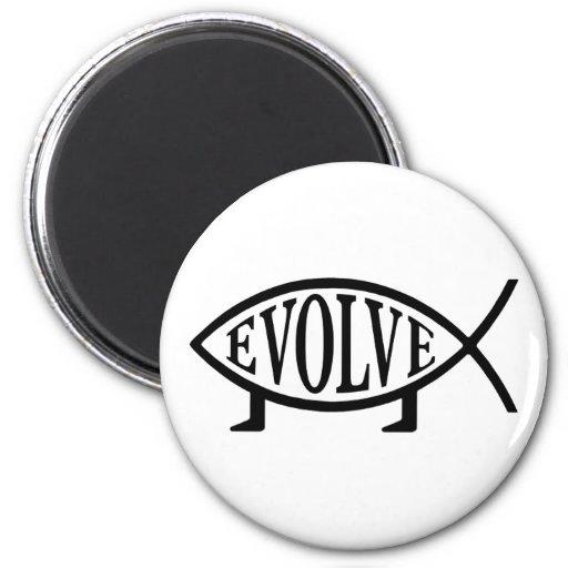 Evolve Fish 2 Inch Round Magnet