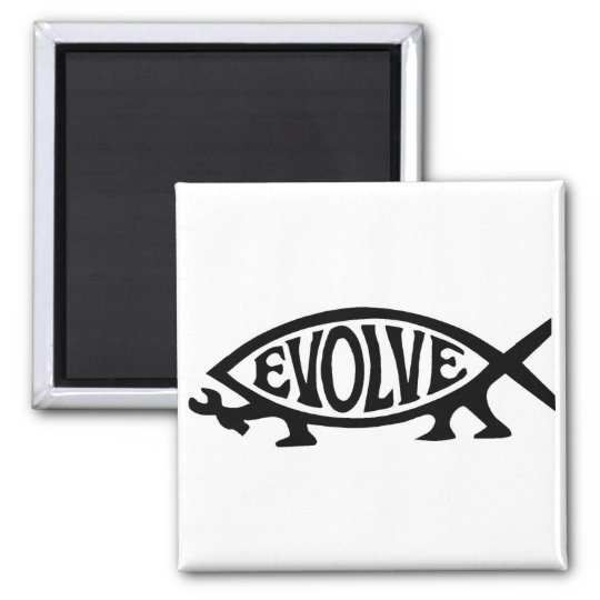 Evolve Fish 2 Inch Square Magnet