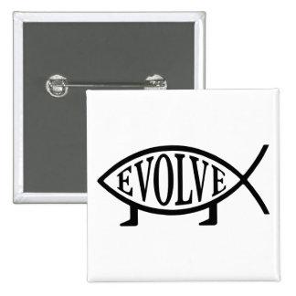 Evolve Fish Pinback Button