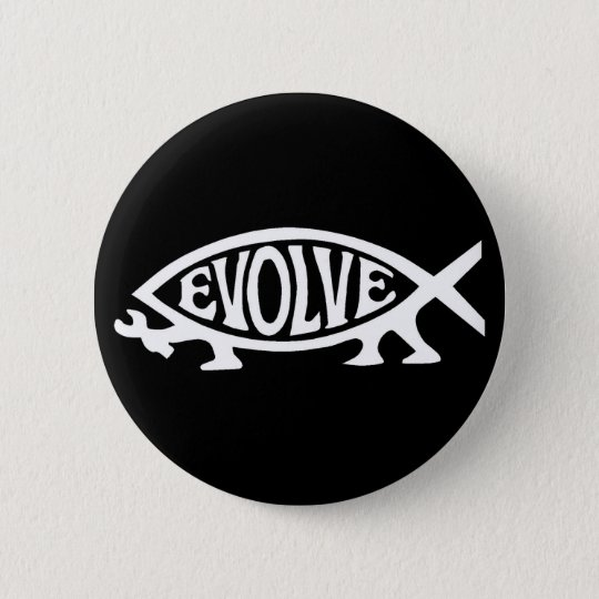 Evolve Fish Pinback Button