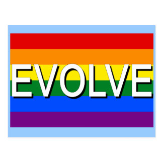 EVOLVE with Gay Pride Flag for Gay Rights Postcard