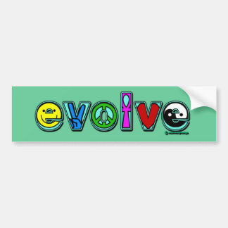 EVOLVE with Six Symbols of Peace and Progress Bumper Sticker