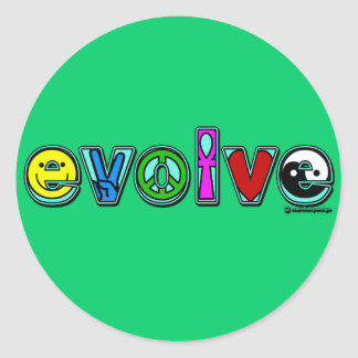 EVOLVE with Six Symbols of Peace and Progress Classic Round Sticker