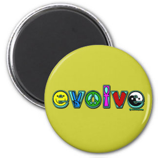 EVOLVE with Six Symbols of Peace and Progress Magnet