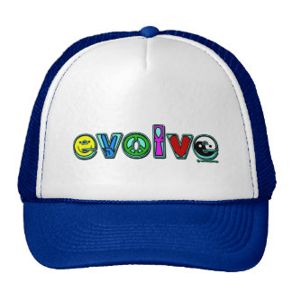EVOLVE with Six Symbols of Peace and Progress Trucker Hat