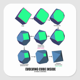 Evolving Cube Inside (Math & Geometry) Square Sticker