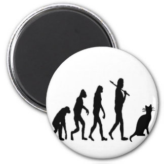 """Evoultion Cat """"We Believe""""-Funny Cat Lovers 2 Inch Round Magnet"""
