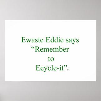 Ewaste Eddie: Recicle su vieja electrónica apropia Póster