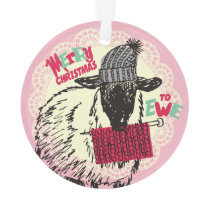Ewe sheep knitting needles yarn Christmas ornament