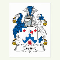 Ewing Family Crest Postcard