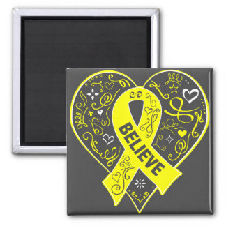 Ewing Sarcoma Believe Ribbon Heart 2 Inch Square Magnet