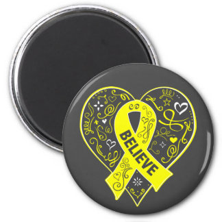 Ewing Sarcoma Believe Ribbon Heart 2 Inch Round Magnet
